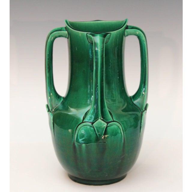 Ceramic Awaji Pottery Art Nouveau Four Handle Buttress Vase For Sale - Image 7 of 9