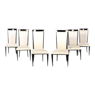 1950s Mid-Century Ebonized Dining Chairs - Set of 6 For Sale