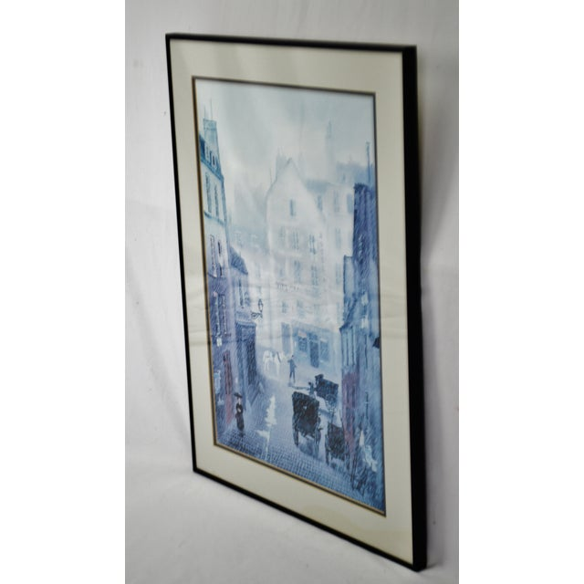 Vintage Framed Paris Street Scene Lithograph by Michel Delacroix Condition consistent with age and history. Some...