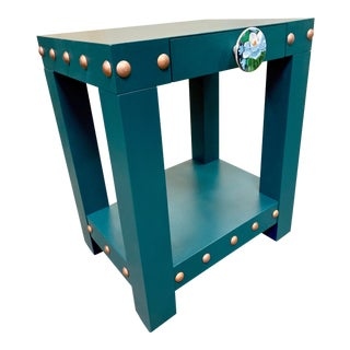 Deep Jade Rose Gold Studded End Tables - A Pair For Sale