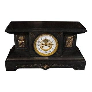 Black Slate Mantel Clock For Sale