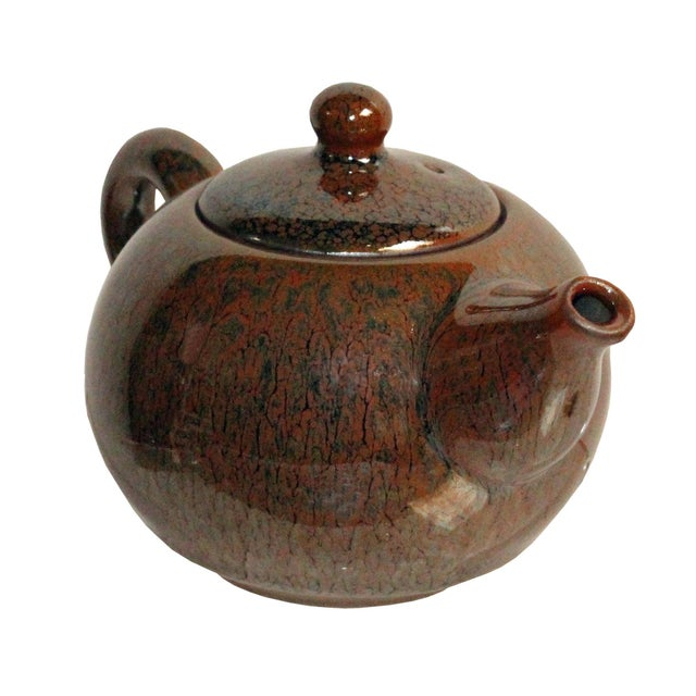 Chinese Handmade Jianye Clay Bronze Brown Glaze Decor Teapot For Sale - Image 4 of 7