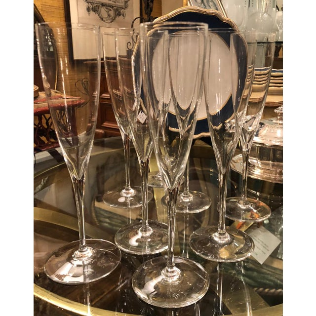Baccarat Set of 8 Signed Baccarat Crystal White Wine Stems - Dom Perignon For Sale - Image 4 of 4
