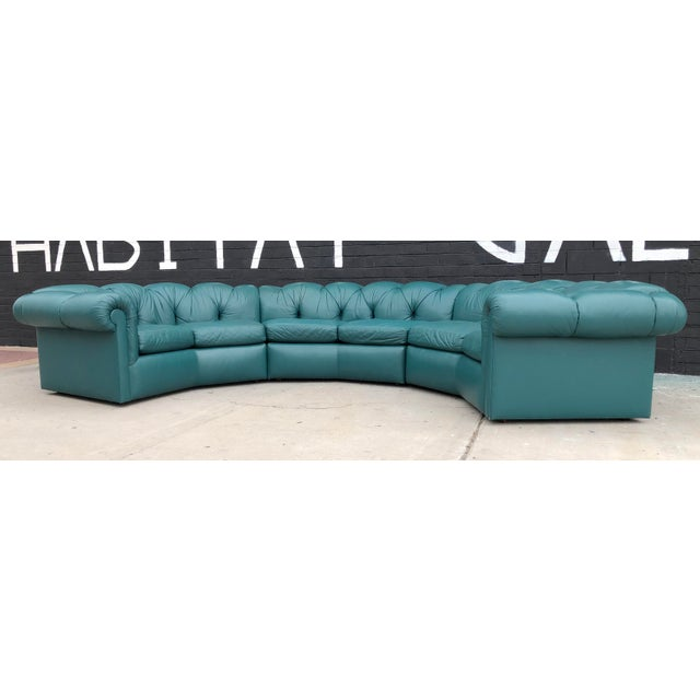 1970's Tufted Leather A. Rudin Circular Sectional Sofa For Sale - Image 10 of 10