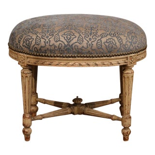 19th Century French Louis XVI Carved Painted Stool