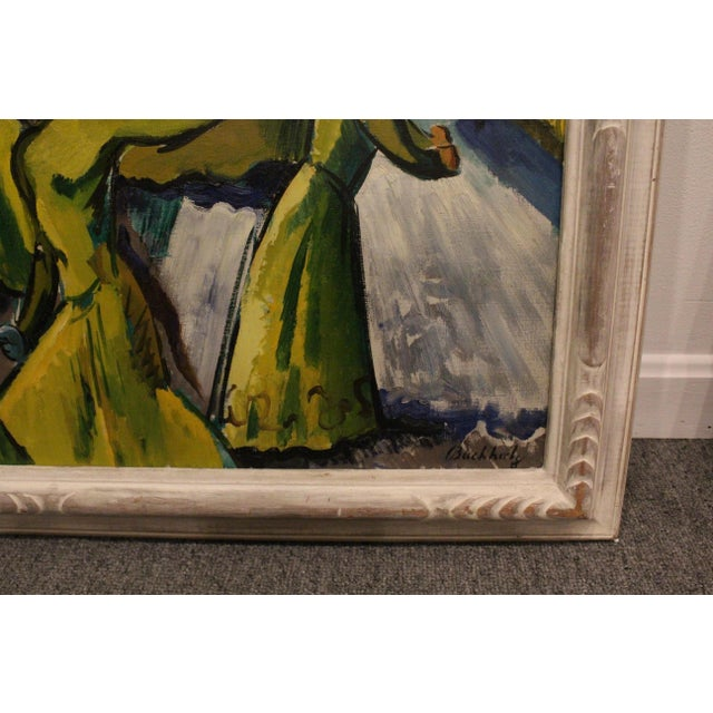 Vintage Mid-Century Frederick Buchholz Maelstrom Dancers Painting For Sale - Image 4 of 6