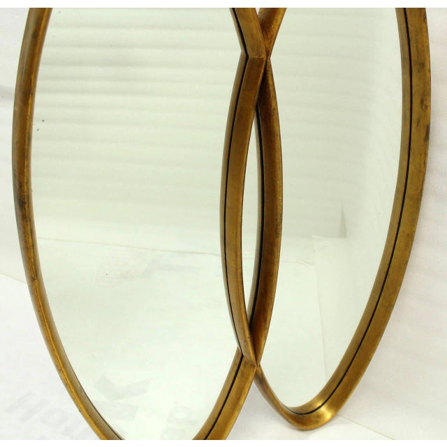 Dual Interlocking Oval Gold Frame Mirror For Sale In New York - Image 6 of 10