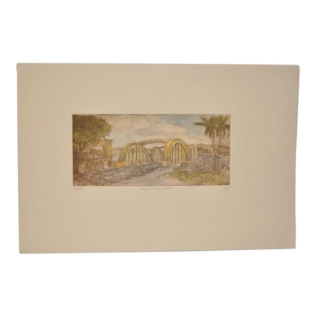 "Rainbow Bridge ""Andy's Place - Haleiwa, Hawaii"" Color Etching by Partee c.1970s For Sale"