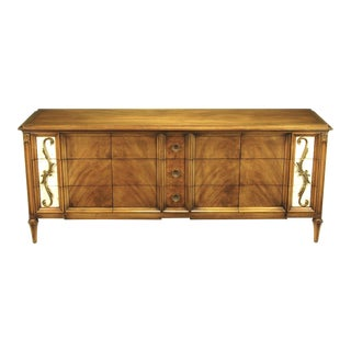 Romweber Figured Walnut Dresser With Crema Marble Inset Panels For Sale