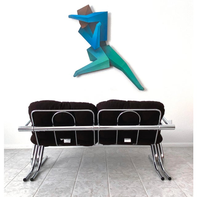 Mid Century Modern Jerry Johnson Chrome Loveseat For Sale - Image 11 of 13