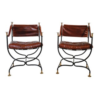 Vintage Mid Century Italian Leather and Iron Campaign Chairs- A Pair For Sale