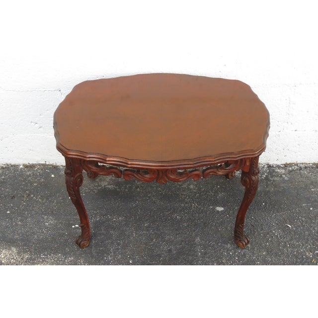 Brown French Early 1900s Hand Carved Coffee Table With Serving Glass Tray 2357 For Sale - Image 8 of 11