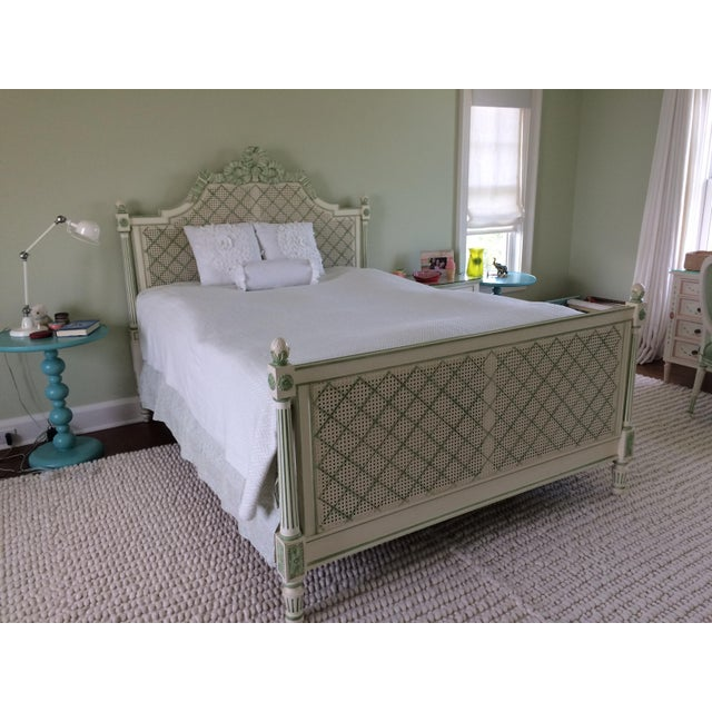 Wood Julia Gray Queen Cane Bed For Sale - Image 7 of 7