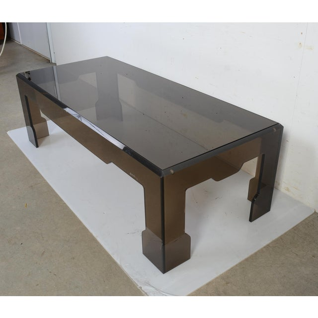 Black Jeffrey Bigelow Lucite Glass Coffee Table For Sale - Image 8 of 9