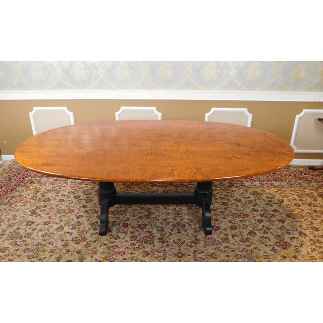 Tiger Maple Oval Country Dining Table - Image 2 of 10