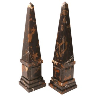 Neoclassical Revival Italian Portoro Marble Obelisks - a Pair For Sale