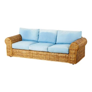 Ralph Lauren Woven Rattan Sofa With Blue Ombre Upholstery For Sale