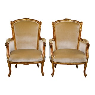 Early 20th Century Louis XV French Walnut and Gilt Chairs - Pair For Sale