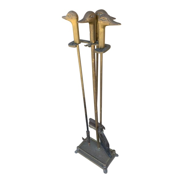 Mid-Century Brass Fireplace Tool Set With Duck Heads For Sale