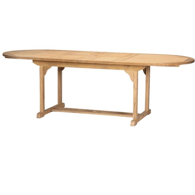 January Oval Teak Outdoor Dining Table with Double Extensions For Sale In Los Angeles - Image 6 of 6