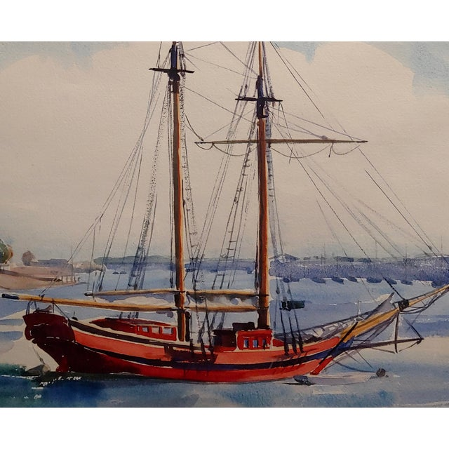Virgene Hawthorne - Red Sail Boat Resting at Bay - 1950s Painting For Sale - Image 4 of 9