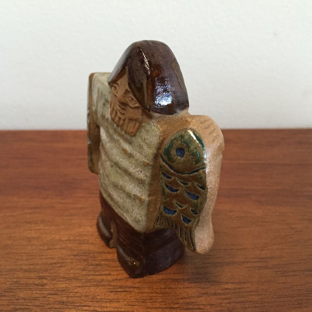 Danish Modern Gustavsberg Lisa Larson Stoneware - Fisherman For Sale - Image 3 of 7