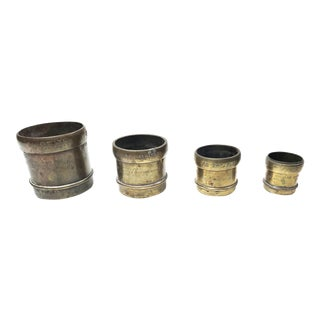 Antique Copper & Brass Measuring Cups - Set of 4
