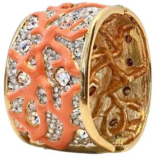 Gold Austrian Crystal & Enamal Coral Branch Cuff Bracelet By, Kenneth Jay Lane For Sale