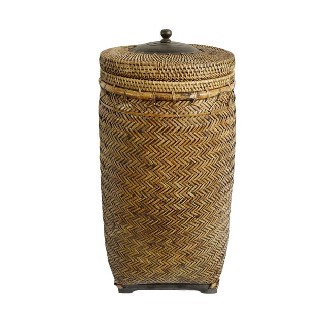 Bamboo Basket With Lid For Sale In Los Angeles - Image 6 of 6