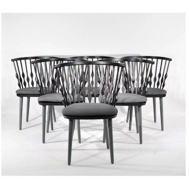 "Patricia Urquiola (Spanish, b. 1961) Set of 6 ""Nub"" Dining Chairs Black and dark gray matte lacquer Removable dark gray..."