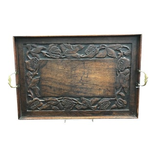 19th Century English Traditional Oak Tray For Sale