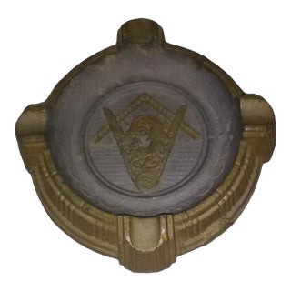 Free Masons Brass Colored Ironstone Handmade Ashtray For Sale