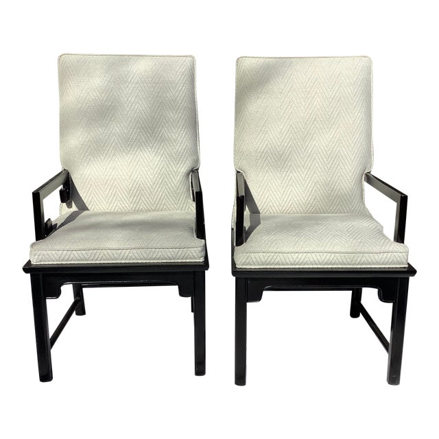 1970s Greek Key Arm Chairs by Century, a Pair For Sale