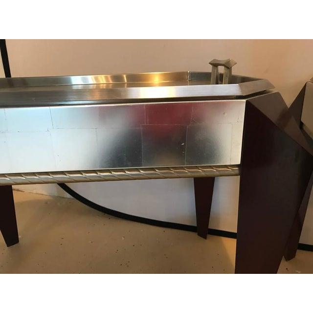 pair of dakota jackson stainless steel serving trays on mahogany legs chairish. Black Bedroom Furniture Sets. Home Design Ideas