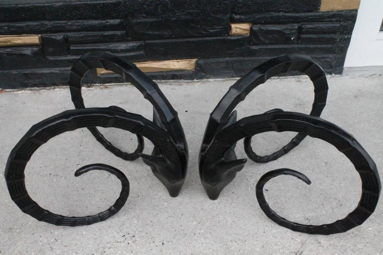 Vintage Black Metal Ibex Head Coffee Or Cocktail Table Bases   A Pair    Image 10