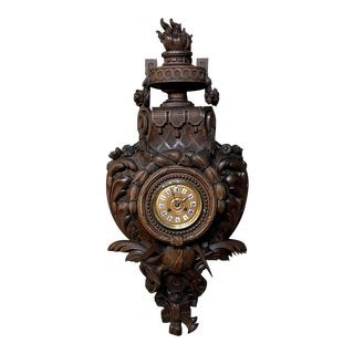 Wall Clock, Cartel, 19th Century French Louis XVI Carved Oak For Sale