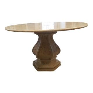 Modern Kreiss Travertine Top Pedestal Table For Sale