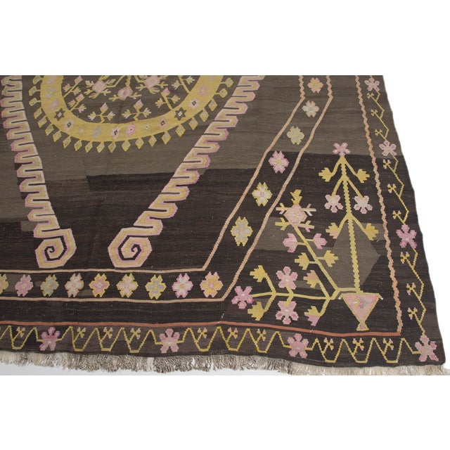 Turkish Primitive Large Kilim Rug - 9′7″ × 10′5″ - Image 7 of 10