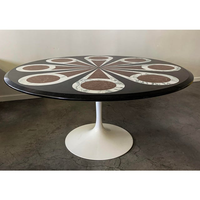 Custom Designed Marble Inlay Knoll Saarinen Dining Table For Sale In Las Vegas - Image 6 of 6