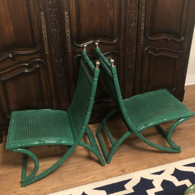 Campeche Green Faux Bamboo Chairs - a Pair For Sale - Image 6 of 9
