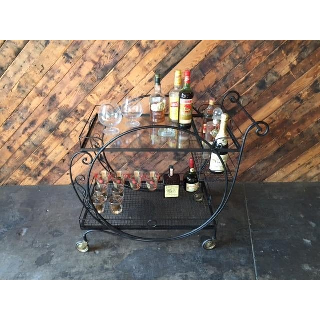 1940's Salterini Wrought Iron Rolling Outdoor Bar Serving Cart - Image 7 of 7