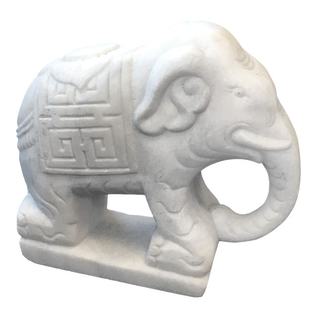 Late 20th Century Vintage Marble Elephant Bookend For Sale