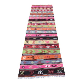 "Vintage Anatolian Long Kilim Runner-3'8""x11'4""-Mid Century Runner Rug-Flatweave-Authentic-Striped Pink Black Colorful Kilim- For Sale"