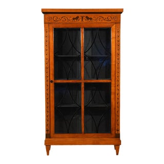 Antique Biedermeier-Style Walnut Bookcase For Sale