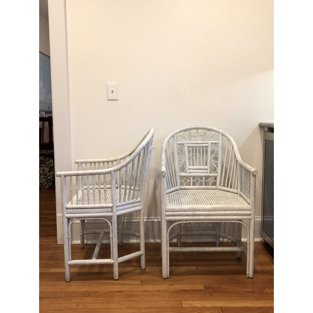 Marvelous Chinese Chippendale Bamboo White Cane Chairs A Pair Chairish Theyellowbook Wood Chair Design Ideas Theyellowbookinfo