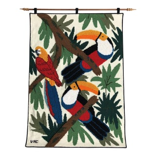 Tropical Birds Wall Tapestry/Signed