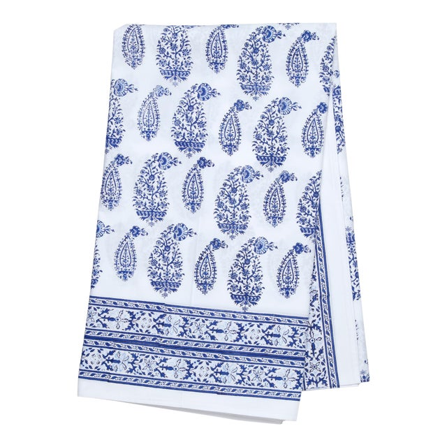 Malabar Multi-Paisley Tablecloth, 4-seat table - Deep Blue For Sale