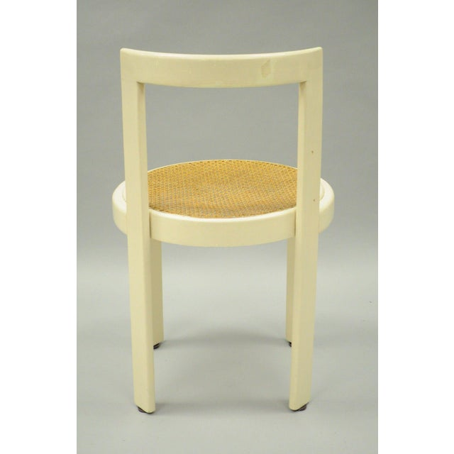 Vintage Thonet Style Italian Mid-Century Modern Round White Cane Seat Side Chair - Image 5 of 10