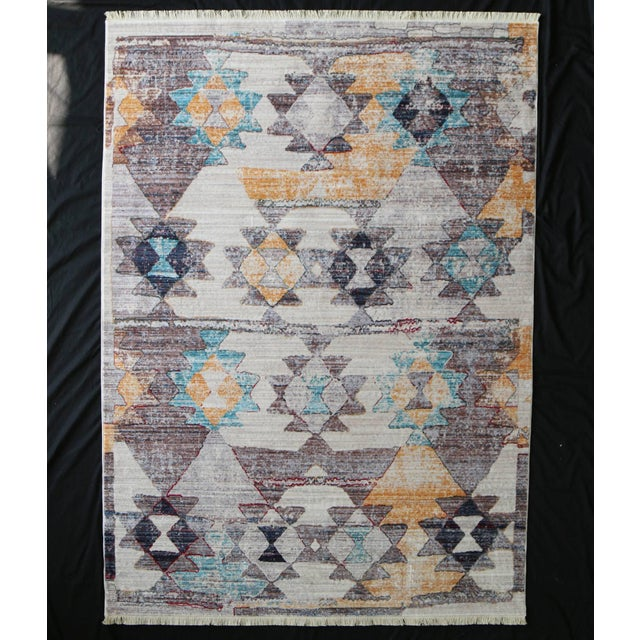 Faded Southwestern Kilim Patterned Tribal Cotton Rug - 4'x6' For Sale - Image 10 of 10