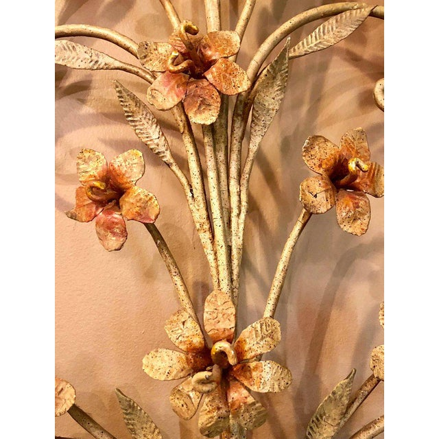 10db55965df Italian Fifteen-Light Wall Sconces with Lovely Flowers and Leaves - a Pair  For Sale